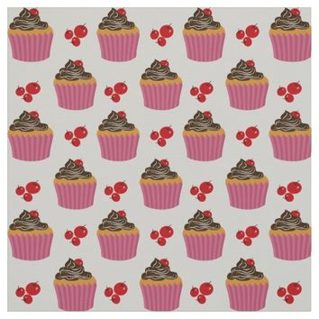 Retro Pink Cupcake And Cherries Pattern Fabric