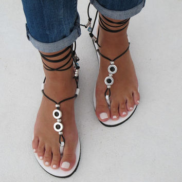 Leather sandals in black and white. HERA 04 NEW