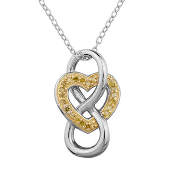 1/10 CT. T.W. Enhanced Yellow Diamond Heart in Infinity Pendant in Sterling Silver and 18K Gold Plate