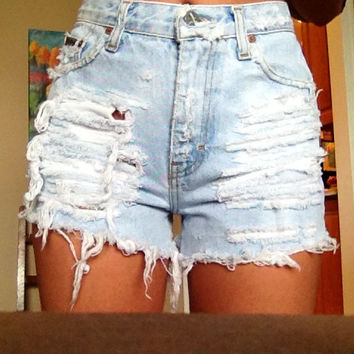Super Bleached Distressed High Waisted Shorts