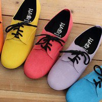 BN Women's Lace Up Flat Oxford Flats Boots Shoes Red Blue Yellow Purple Orange