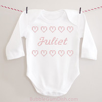 Juliet Faux Cross-Stitch Hearts Valentine Valentine's Day Outfit Baby Bodysuit Onepiece Toddler Outfit Valentine Shirt