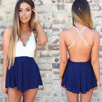 Crochet Top Romper - Navy
