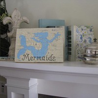 Mermaids Blue Coastal SignRoom DecorBeach Theme by flowerjunky