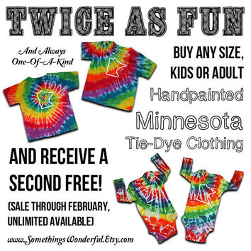 Kids ~ Classic Minnesota Tie-Dye T-Shirts ~ (Hand painted & dyed by Somethings Wonderful!)