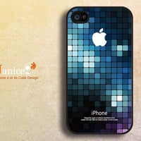 unique Iphone 4 case, iphone cases 4, iphone 4s case, iphone 4 cover, blue grid printing Iphone caswe 402