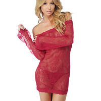 Long Sleeve Chemise Dress Set | Sexy Clothes Womens Sexy Dresses Sexy Clubwear Sexy Swimwear | Flirt Catalog