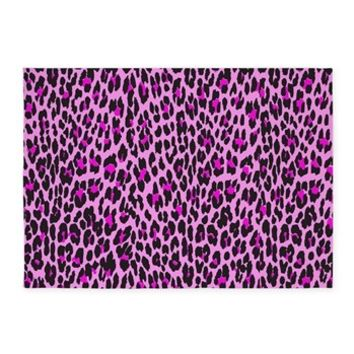 Pink Leopard 5'x7'Area Rug> Animal Print, Spotted Leopard> Strawberry and Hearts