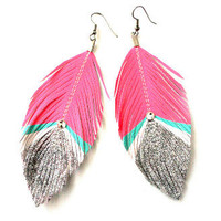 Bowie Pink and Silver Glitter Feather Earrings by Glamfoxx