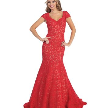 Red & Nude Sheer Lace Trumpet Cap Sleeve Gown Prom 2015