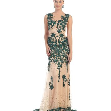 Nude & Forest Green Beaded Illusion Dress 2015 Prom Dresses