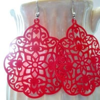 S T R A W B E R R Y - Red Swirl Lace Hand Painted Metal Filigree Silver Dangle Earrings