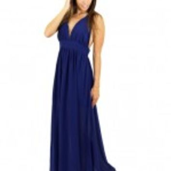Navy Maxi Dress With Braided Racerback