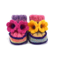 Knitted Baby Booties with Crochet Bell Flowers - Spring Colors, 3 - 6 months