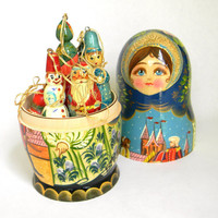 Russian Nesting Doll  Christmas ornaments by Mylittlethriftstore