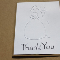 Wedding Thank You Cards, Embossed Bride and Groom