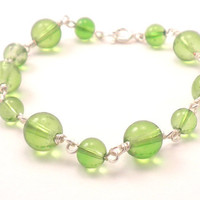 Handmade Chain Bracelet in Lime Green and Silver Wrapped Wire
