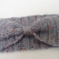 Wool Grey Headband, Hand Crocheted Headband, Earwarmer, Women Accessories