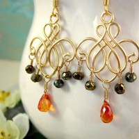 Mystic orange sapphire quartz gold chandelier earrings