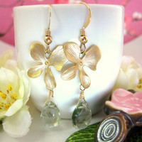 Green amethyst gold cherry blossom dangle earrings