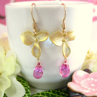 Pink quartz gold cherry blossom dangle earrings