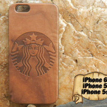 Starbucks, Engraved iPhone 6 5 5s Wood Case, Made from Genuine Walnut or Cherry