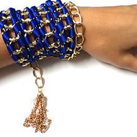 Braided Blue Satin Ribbon and Gold Tone Aluminum Metal Chain Bracelet - New !