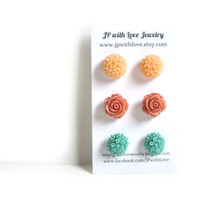 Flower Stud earrings - set of 3