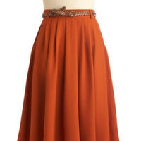 ModCloth Folk Art, 50s, Scholastic Long High Waist Breathtaking Tiger Lilies Skirt in Orange
