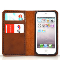 NEW iPhone 5 Wallet with  Bumper Case- Light Brown