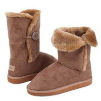 "Amazon.com: Womens 10"" Tall Mid Calf Boots 1 Button Faux Sheepskin Fur Shearling 3 Colors: Shoes"
