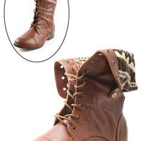 DbDk Fashion Sharp1 Cognac Nordic Lining Combat Boots shop Boots at MakeMeChic.com