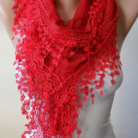New-Lace Scarf in Red with Lace Trim Edge - Elegant Lace Fabric