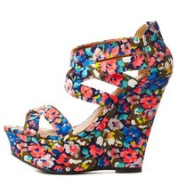 Printed Strappy Platform Wedge Sandals by Charlotte Russe - Coral