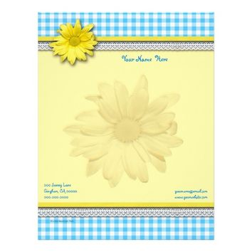 Yellow Double Daisy Turquoise White Gingham