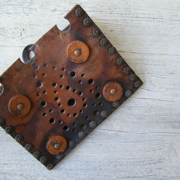 Ornate Leather Wall Letter Holder, Rustic Distressed Etched Leather Wall Art, iPhone Wall Case Pouch, Southwestern Adornment Man Cave Gift