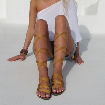 "Greek Gladiator sandals, Customizable Choose scarf laces from 18 colors and leather footbed from 6 colors  ""ATHENA"" ATHS02"