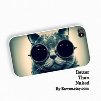 Smart Cat iPhone 4 Case, iPhone case, iPhone 4s Case, iPhone 4 Cover, Hard iPhone 4s Case Cat Eyes glasses