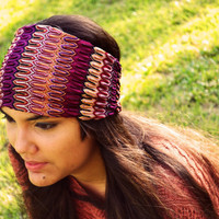Lace Turban Headband Headwrap Aztec Nomad Tribal Print Zig Zag Purple Yoga Workout Twisted Ear Warmer Band