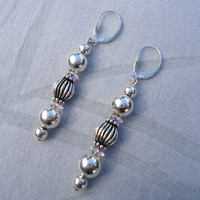 Long Dangle Sterling Silver Earring, Dangle Earrings, Silver Beaded Earrings