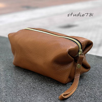 Square Shape Leather  Clutch / Pouch Bag - Tan Brown