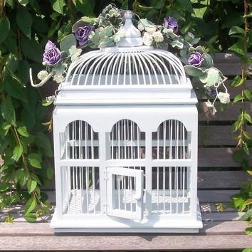 Romantic White Birdcage  weddings shabby chic by CrabApplCreations