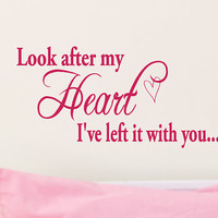 Look After My Heart Ive Left It With You Twilight quotes Vinyl Wall words decal