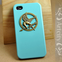 Brass Hunger Games Mockinjay Pendant Light Blue Iphone case, Iphone 4 case, Iphone 4S case, Hard case