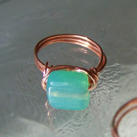 Ring Size 6.5 - Aqua Blue And Coppe.. on Luulla