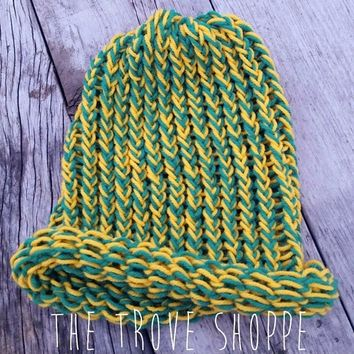 Handmade Green & yellow loose, loom knit, hat