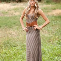 Mocha Striped Assymetrical Maxi Dress