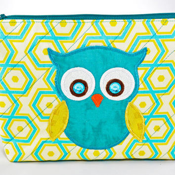 Handmade Quilted Medium Cosmetic Bag With Owl Applique Zipper Close Turquoise and Yellow