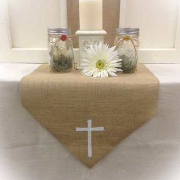 """Burlap Table Runner with a Cross in  12"""", 14"""" & 15"""" wide"""