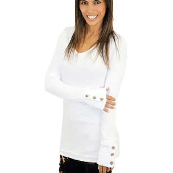 White Top with Button Cuffs